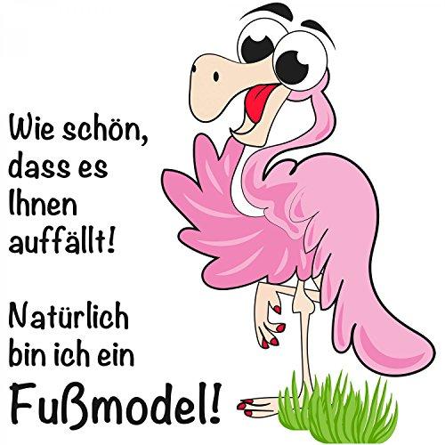 Wie schön, dass es Ihnen auffällt! Natürlich bin ich ein Fußmodel! - Damen T-Shirt von Fashionalarm | Fun Shirt Spruch Spaß Model Flamingo Tier lustig Weiß