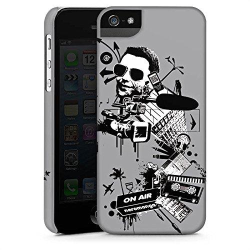 Apple iPhone 5s Housse Étui Protection Coque Caméra Musique Cassette CasStandup blanc