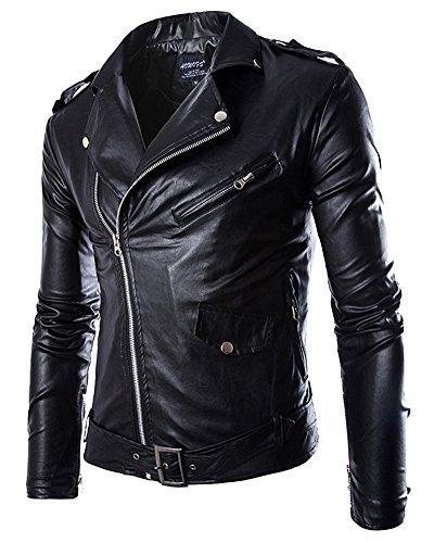 Anyu Chaqueta de Motociclista Piel Sintética con Cinturón para Hombre Negro XL