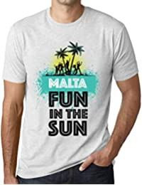 Hombre Camiseta Vintage T-Shirt Summer Dance Malta Blanco Moteado 804cdbdb0ce
