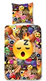 Aminata Kids - Kinder-Bettwäsche-Set 135-x-200 cm Emoji-Motiv Smiley Emoticon App Handy 100-% Baumwolle Renforce bunt-e