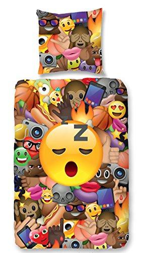 Aminata Kids - Kinder-Bettwäsche-Set 135-x-200 cm Emoji-Motiv Smiley Emoticon App Handy 100-{5caf9dd81db152b0e1afeca4a18fac498fc3178920cc1db87cb22307577c3d95} Baumwolle Renforce bunt-e