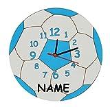 Unbekannt  Fußball / Ball blau weiß  - Wanduhr - lautlos - incl. Name - Uhr aus Holz - Spiel Sport für Jungen Mädchen Kinder / Kinderzimmer - Kinderuhr Uhren Quarz Fu..