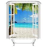 Badezimmer Duschvorhang, Top Qualität Anti-Schimmel Duschvorhänge Digitaldruck inkl. 12 Duschvorhangringe, 180x200cm (Meerblick aus dem Fenster)