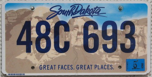 """USA Nummernschild SOUTH DAKOTA ~ Kennzeichen US License Plate ~ KFZ Blechschild mit Grafik """"Mount Rushmore National Memorial"""""""