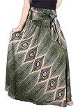 Lofbaz Damen Bohemien Hüfte Langer Rock Süße Hippie Style Blumen - Eye Dunkelgrün - OS