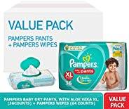 Pampers Combo Pack, Diaper Pants with Aloe Vera, Size 5, Junior 12-17 kg (36 Counts) and Fresh Clean Baby Wipe