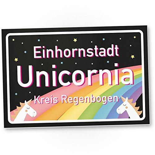 DankeDir! Einhornstadt Unicornia Schwarz - Einhorn Kunststoff Schild - Stadtschild, Geschenk - süße Deko, Wanddeko, Türschild Mädchen-Wohnung, Geschenkidee Geburtstagsgeschenk Beste Freundin