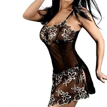 Zicac - Sexy Noir Nuisette en Voile Brodé Floral Transparente Bretelles réglables / Lingerie Femme de Nuit & G string pour des plaisir secrets – Taille 34-38 (français)