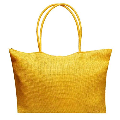 Vovotrade® Le donne di colore della caramella borsa da spiaggia a tracolla grande paglia (Bianco) Giallo