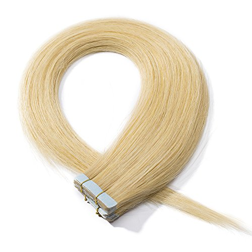 Extension capelli veri adesive bionde tape in hair extensions con biadesivo -35cm 20 fasce biadesive 40g/set 100% remy human hair lisci lunghi #24 biondo naturale
