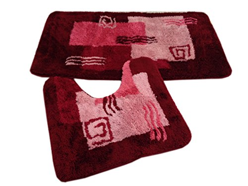 Goodway 2 teiliges Badematten Set Mailand rot