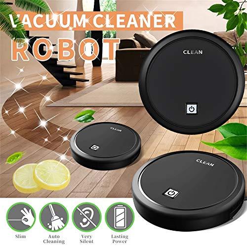 Aspirador automático inteligente con robot de barrido Aspiración fuerte Paño de limpieza Seco Húmedo Limpio (Negro)