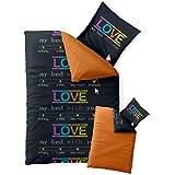 CelinaTex 0003594 Bettwäsche 155 x 200 cm Baumwoll-Renforcé OEKO-TEX Fashion Love Schwarz Orange Wende-Design