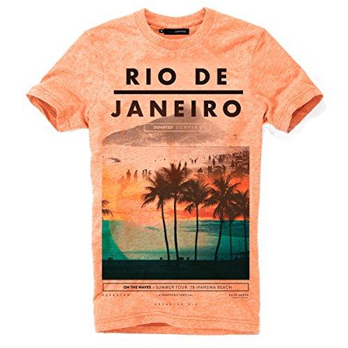 DEPARTED Herren T-Shirt mit Print/Motiv 3849-230 - New Fit Größe XL, Sunset Orange Triblend