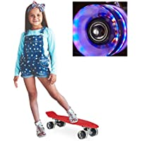 relaxdays Skateboard LED f. Kinder, 22 Zoll Mini Cruiser m. Leuchtrollen, ABEC 7 Alu-Trucks m. Gummi Wheels, mehrfarbig
