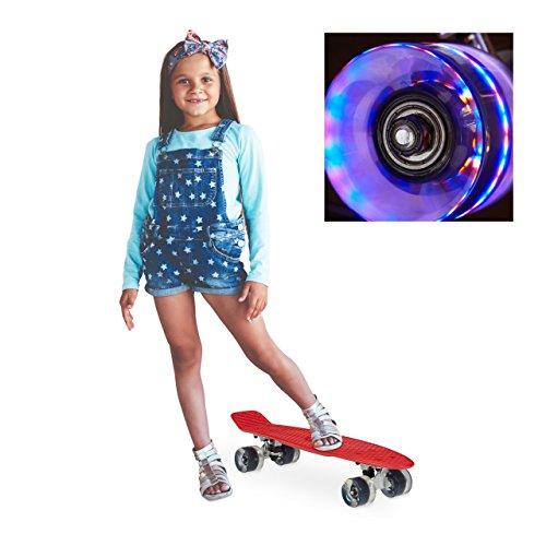 Relaxdays Skateboard LED für Kinder, 22 Zoll Mini Cruiser mit Leuchtrollen, ABEC 7 Alu-Trucks mit Gummi Wheels, rot