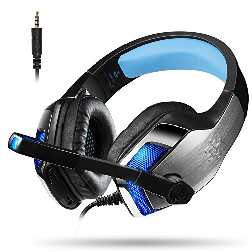Cascos Auriculares Gaming Gamer PS4 Xbox One PC con Micrófono Micro Portátil Computadoras Mac Estéreo Juego Gaming Headset Ligero Cómodo Control de Volumen Tablet Teléfono (Adaptador Incluido)