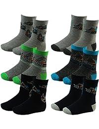 6er Pack Kinder Jungen Socken mit Bagger Motiv mehrfarbig