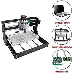 HUKOER 3018PRO Machine CNC Améliorée GRBL Control 3 Axes Machine de Gravure pour Plastique, Acrylique, PVC et Bois (Zone de travail 300x180x45mm)