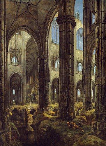 Kunstdruck/Poster: Karl Blechen Gotische Kirchenruine – Hochwertiger Druck, Bild, Kunstposter, 40×55 cm