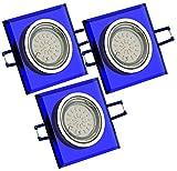 Trango 3er Set Design Einbaustrahler aus blauem Glas ECKIG & Alu inkl. 3x GU10 LED Leuchtmittel & GU10-Anschlusskästen TG6736B-03B