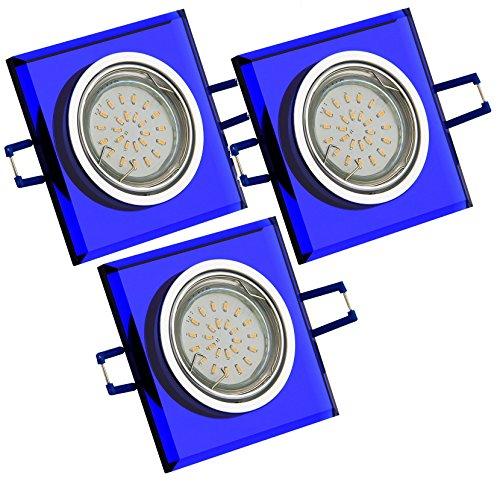 Trango Juego de 3diseño Foco Azul de cristal rectangular & Aluminio Incluye...