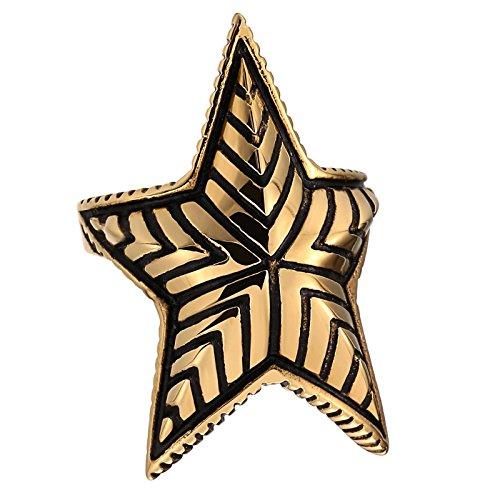 AieniD Gioielli Anelli Acciaio Uomo con Croce Anello Uomo Brillante Pentagram Star Oro Anelli Dimensione:1.2X1CM Size:20