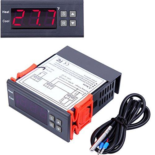 Paneltech 10A 12V Digitaler Temperaturregler Thermostat Heizung Kühlung Kalibrierung Steuerung über Sonde mit Sensor Temperatur Regler Temperature Controller Thermostat Thermoelement -