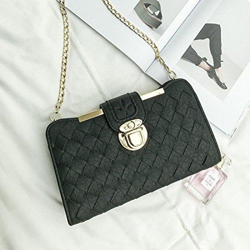 Weibliche Tasche Einfache Sperre Kleine Quadratisches Paket Reine Farbe Gewebt Schulter Messenger Tasche Schwarz