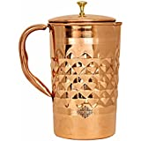 IndianArtVilla Diamond Hammered Copper Jug Picther With Brass Knob, Storage & Serving, Health Benefits, 2000 ML