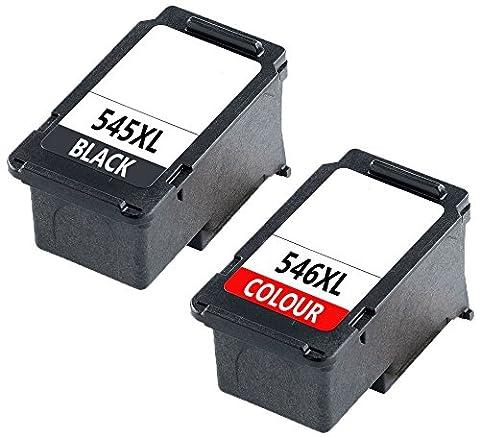 2 XL Compatibles PG-545 XL CL-546 XL Cartouches d'encre pour Canon Pixma MG2450, MG2550, MG2550S, iP2850, MG2950, MG3050, MX495 | Haute Capacité