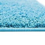 Floori® Shaggy Teppich   Hellblau - Größe wählbar - GuT-Siegel/PRODIS - moderner Wohnzimmerteppich