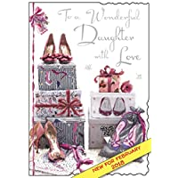 Illustrated Daughter Birthday Card - (JJ3339) - Shoes - From The Velvet Range - Embossed With A Silver Foil & Flitter Finish