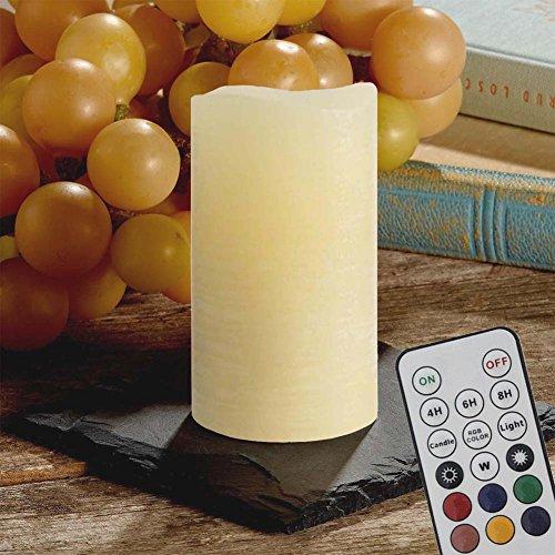 ShareMoon LED Kerzen Echtwachskerze mit Warmweiß Farbwechsel über Fernbedienung und Timer Batteriebetrieben [Vielfalt der Beleuchtung und Klassisches Wachs säule]
