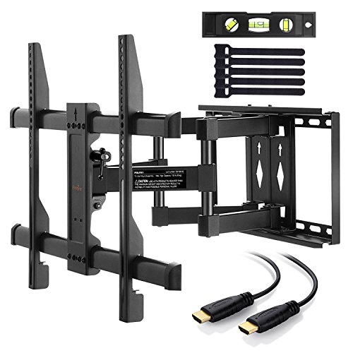 Perlegear TV Bracket Tilts Swivels Extends - Full Motion TV Wall Mount For 37-70 Inch LED, LCD, OLED, Flat Screen TVs - Ultra Strong TV Wall Bracket Includes 1.8m HDMI Cable, Bubble Level, Cable Ties