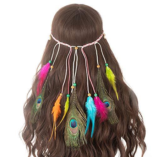 Kostüm Kopfschmuck Indische - LONGBLE Damen Stirnbänder Frauen Feder Quasten Gürtel Haarbänder Haarband kostüm Haarschmuck Kopfschmuck Einstellbar Haarband Hippie Boho Indianer Stirnband Mit Holzperle Haarschmuck