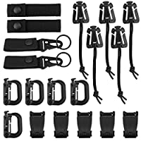 Yotako 19 Pieces Tactical Gear Clip Set for Tactical Backpack Molle Bag,D-Ring Locking,Web Dominator Elastic String &Buckles,MOD Straps,Key Ring Holders