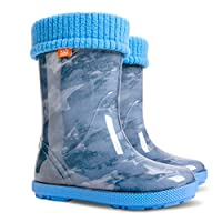 Demar Lux Bright Boys Girls Kids Warm Fleece Lined Wellington Boots Wellies (Jeans star, 3-4 UK(todler) 20-21 EU - 126mm)