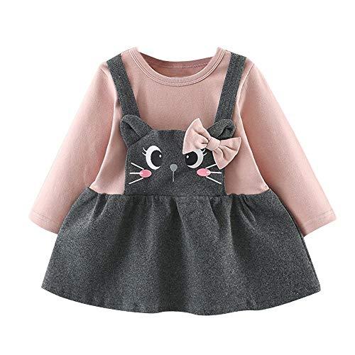 Baby Mädchen Kleider, Mode Langarm Kleinkind Kinder Cartoon Cat Print Bow Party Krawatte Gefälschte Zwei Prinzessin Rock Karneval Ostern Kleid (6M-24M)(Rosa,7)