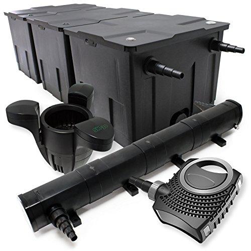 WilTec Kit de Filtration Bassin Bio 90000l Stérilisateur UVC 72W 80W Pompe éco Ecumeur