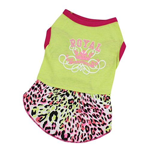 SunGren Ropa de gato para perros, falda de leopardo del animal doméstico falda del vestido del deporte Mascota del perro de perrito princesa traje ropa falda(S,Verde)