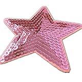 (Packung mit 5) 5-Sterne-förmigen Pailletten Bestickte Applikationen Nähen oder Eisen auf Patches-Pink