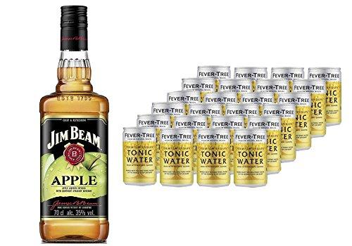 Jim Beam Apfel Likör Bourbon Whiskey (1 x 0.7 l) mit Fever-Tree Premium Indian Tonic Water, Dosen (24 x 150ml)