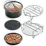 5 Stück Heißluftfritteuse Airfryer Zubehör, Kuchenfass + Antihaft Pizzablech + Metall-Halter + Doppelschicht-Rack + Silikonmatte (Spülmaschine Safy) von Upxiang