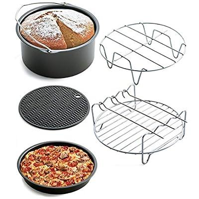 5 Stck Heiluftfritteuse Airfryer Zubehr Kuchenfass Antihaft Pizzablech Metall Halter Doppelschicht Rack Silikonmatte Splmaschine Safy Von Upxiang