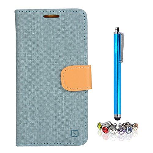 A9H Vodafone Smart Prime 6 VF-895N Funda Protectiva Carcasa Cuero Resistente Cierre Magnético,carcasa en folio, soporte plegable,ranuras para tarjetas-light blue