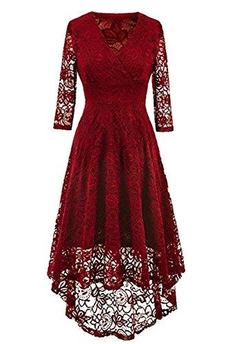 e27f3a12bc6 NALATI Spitzenkleid V-Ausschnitt 3 4 Ärmel Vintage Partykleid Asymmetrisch  Festlich Abendkleid Brautjungfern Kleid