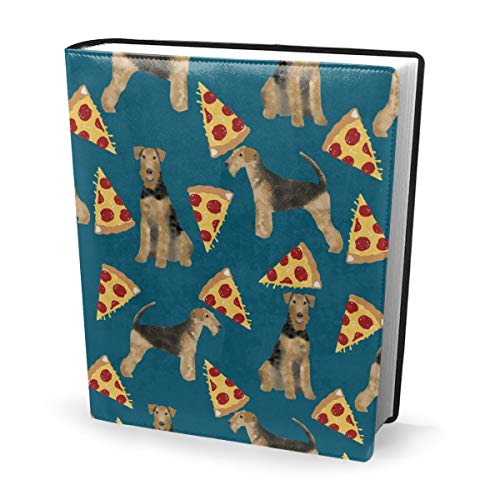 Book Cover Airedale Terrier Dog Cute Dogs Food Funny Pizza Sapphire Blue Waterproof PU Leather School Book Protector Washable Reusable Jacket 9x11 in Cover Blue Snap