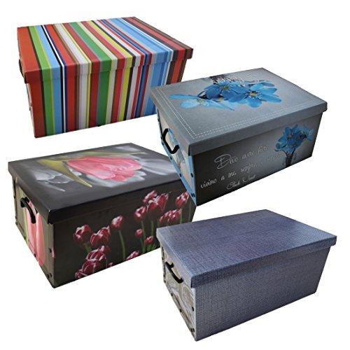 Scatole 4 pezzi contenitore salvaspazio in cartone 50 x 40 x 25 cm per portabiancheria,oggetti o abiti